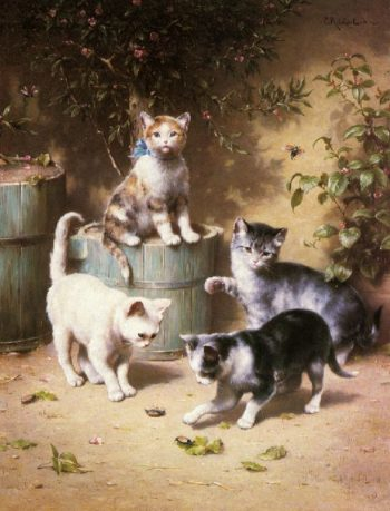 Kittens Playing with Beetles   Carl Reichert   oil painting