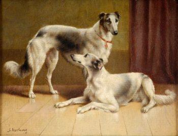 Persian Greyhounds   Carl Reichert   oil painting