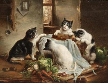 Playful kittens   Carl Reichert   oil painting