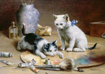 Studio Assistants   Carl Reichert   oil painting