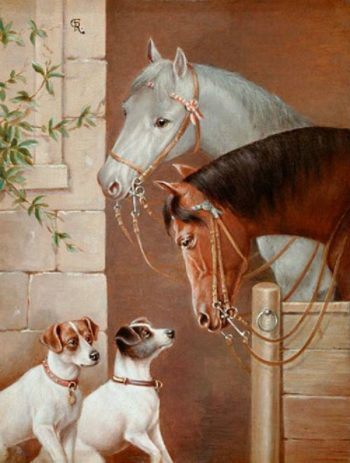 The encounter at the horse barn   Carl Reichert   oil painting