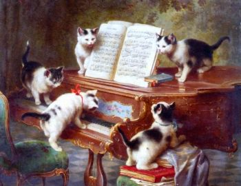 The Kittens Recital   Carl Reichert   oil painting
