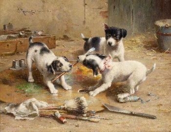 The painter dispute   Carl Reichert   oil painting
