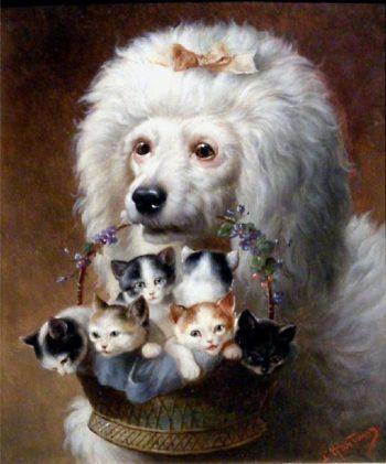 The Poodles Friends   Carl Reichert   oil painting