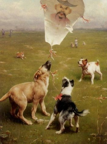 Up and Away Dogs Chasing the Kite | Carl Reichert | oil painting