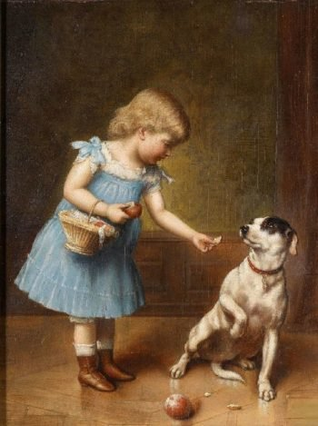 Young girl feeding a dog   Carl Reichert   oil painting