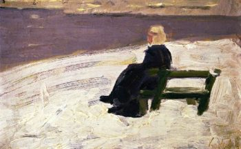 Woman in a Winter Landscape on a Green Bench | Franz Marc | oil painting