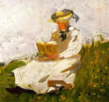 Woman Reading in a Meadow | Franz Marc | oil painting