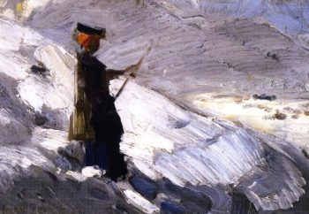 Woman Standing in a Winter Landscape | Franz Marc | oil painting