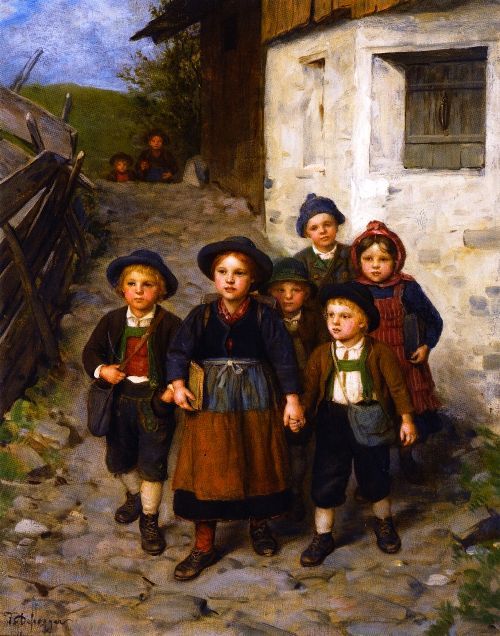 Going to School | Franz von Defregger | oil painting