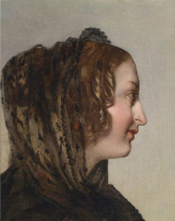 Female Head in Profile with Black Veil | Friedrich von Amerling | oil painting