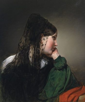 Girl in profile with a black mantilla | Friedrich von Amerling | oil painting