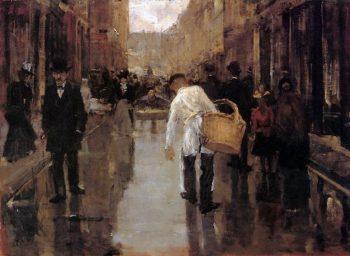 Butchers Boy In Street Den Haag | Floris Arntzenius | oil painting