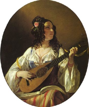Lute Player | Friedrich von Amerling | oil painting