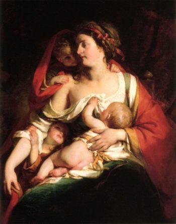 Mother And Children | Friedrich von Amerling | oil painting