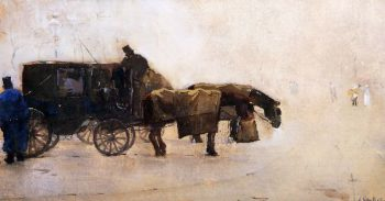 Coaches In The Winter Cold | Floris Arntzenius | oil painting
