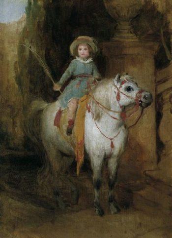 Oil sketch for the portrait of Prince Johann II of Liechtenstein on a Schimmelpony | Friedrich von Amerling | oil painting