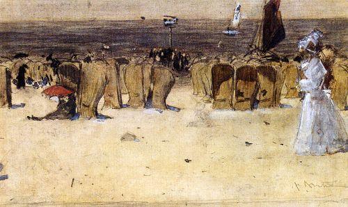 Figures On The Beach Scheveningen   Floris Arntzenius   oil painting
