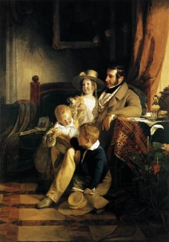 Rudolf von Arthaber with his Children | Friedrich von Amerling | oil painting