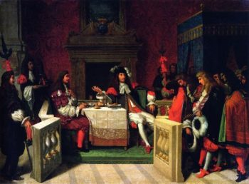 Moliere Dining with Louis XIV   Jean Auguste Dominique Ingres   oil painting