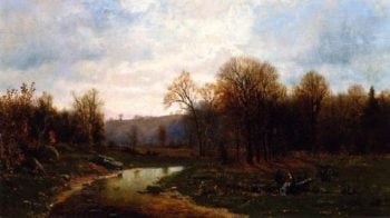 Figures By a River in an Autumnal Landscape | Jervis McEntee | oil painting