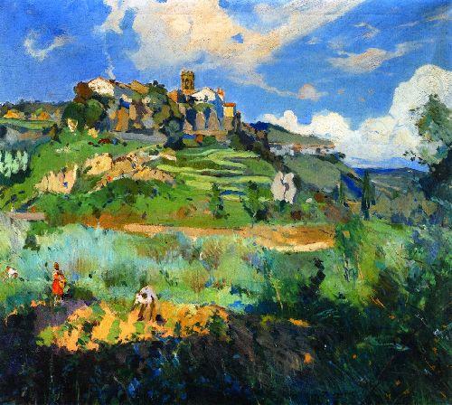 El Pueblo San Quirce de Valles   Joaquin Mir Trinxet   oil painting