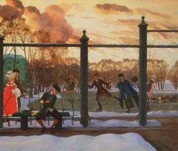 Winter. The Skating Rink | Konstantin Somov | oil painting