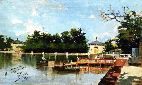 View of the Jetty in the Retiro Gardens Madrid | Joaquin Sorolla y Bastida | oil painting