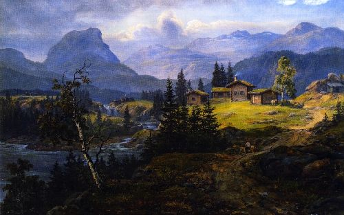View of Oylo Farm Valdres | Johan Christian Dahl | oil painting