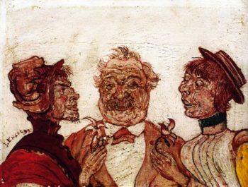 Monsieur and Madame Rousseau Speaking with Sophie Yoteko | James Ensor | oil painting