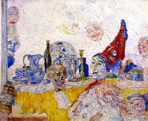 Pierrot and Skeleton in a Yellow Rob | James Ensor | oil painting