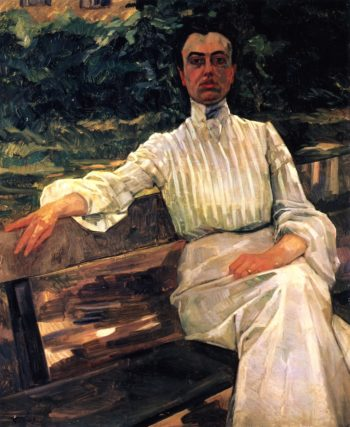 Alice Trubner the Artists Wife on the Garden Bench | Wilhelm Trubner | oil painting