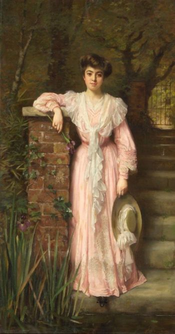 A portrait of a lady in a garden wearing a pink dress holding an iris | Thomas Benjamin Kennington | oil painting