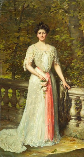 A portrait of a lady in a white dress with a pink sash by a balustrade | Thomas Benjamin Kennington | oil painting