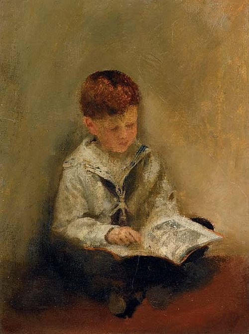 Boy Reading | Thomas Benjamin Kennington | oil painting