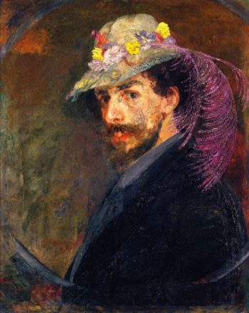 Self Portrait with Flowered Hat | James Ensor | oil painting