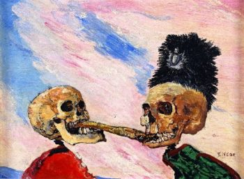 Skeletons Fighting Over a Picked Herring | James Ensor | oil painting