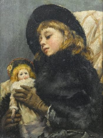 Girl with doll | Thomas Benjamin Kennington | oil painting