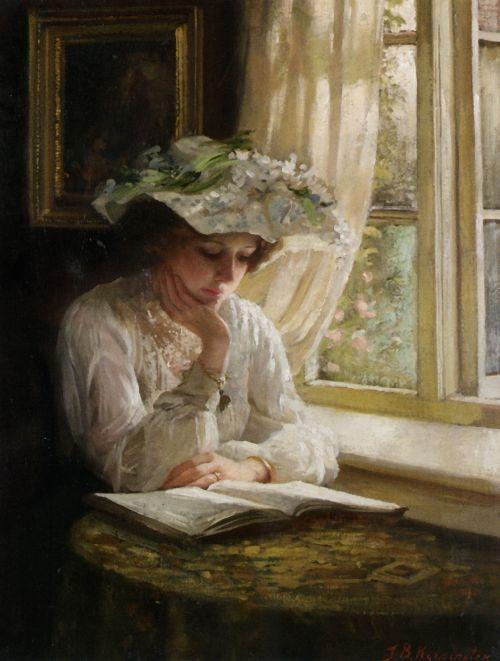 Lady Reading By A Window | Thomas Benjamin Kennington | oil painting