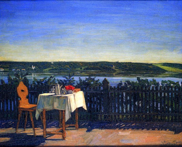 Coffee Table on Lake Starnberg | Wilhelm Trubner | oil painting