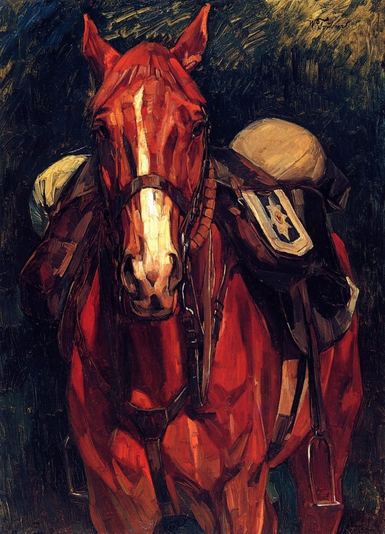 Currassiers Horse from the Front   Wilhelm Trubner   oil painting