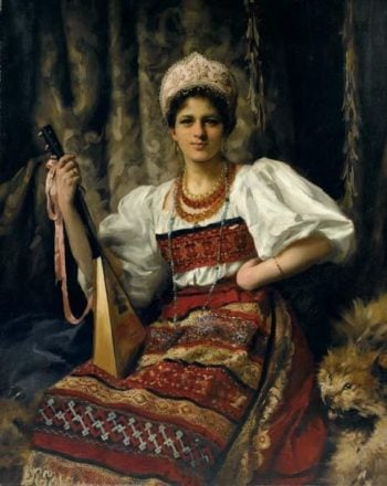 Portrait of Anne in Russian costume holding a balalaika | Thomas Benjamin Kennington | oil painting