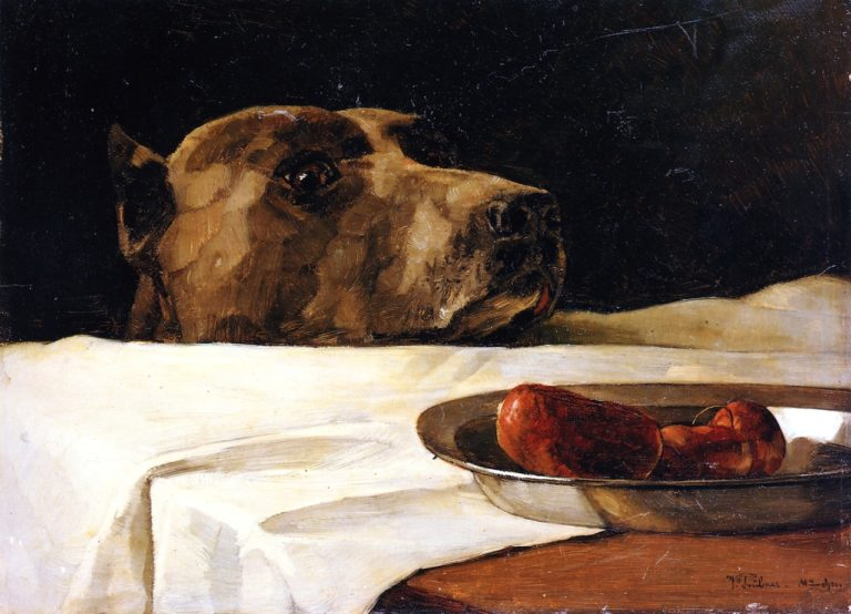 Dog with Plate of Sausages(also known as Caesar at the Rubicon) | Wilhelm Trubner | oil painting