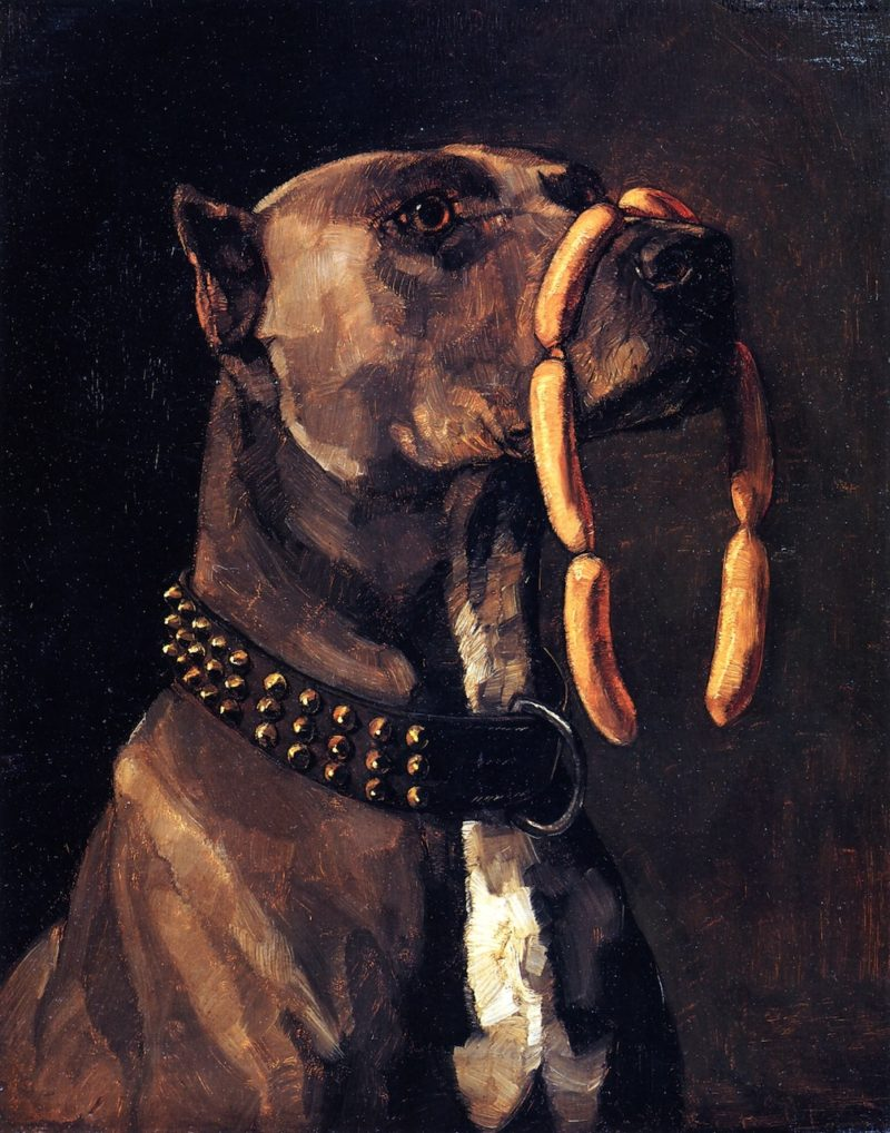 Dog with Sausages(also known as Hail Caesar We Who are about to Die Salute You) | Wilhelm Trubner | oil painting