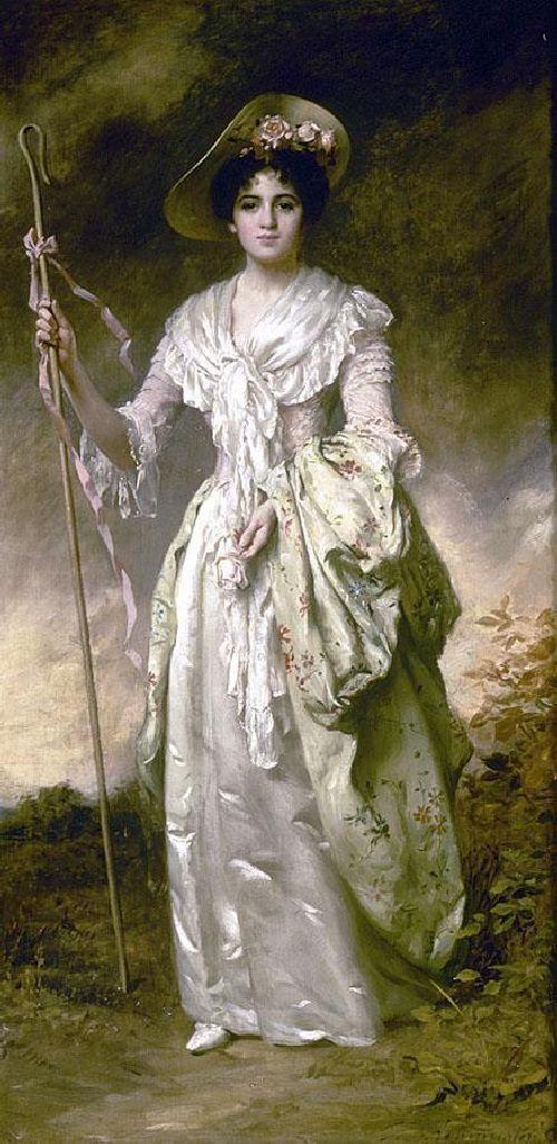 Shepherdess With Her Crook | Thomas Benjamin Kennington | oil painting