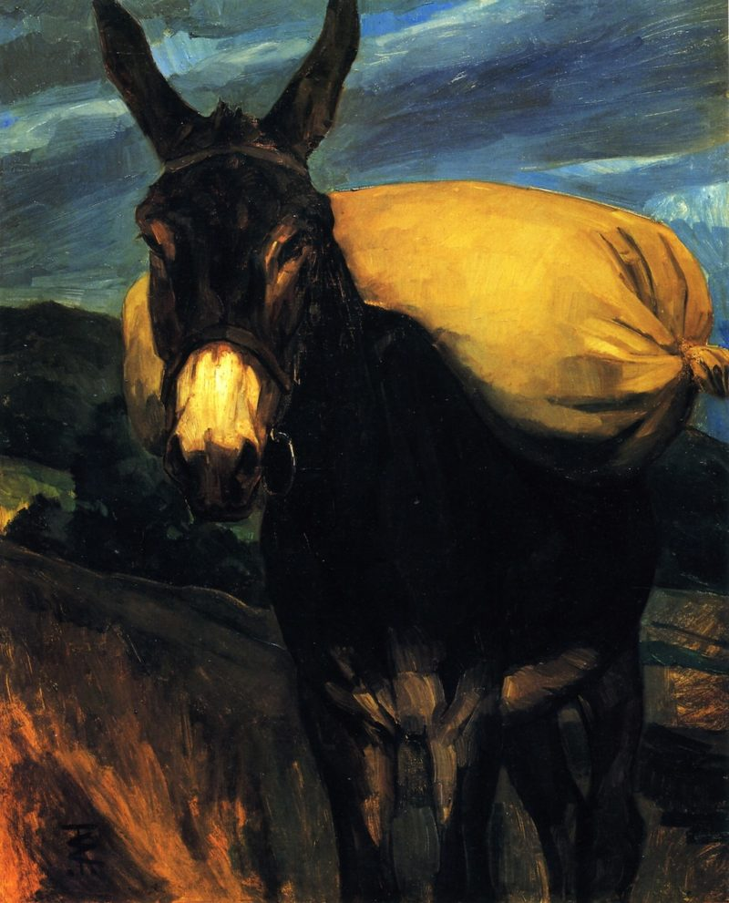 Donkey with Sack of Flower | Wilhelm Trubner | oil painting