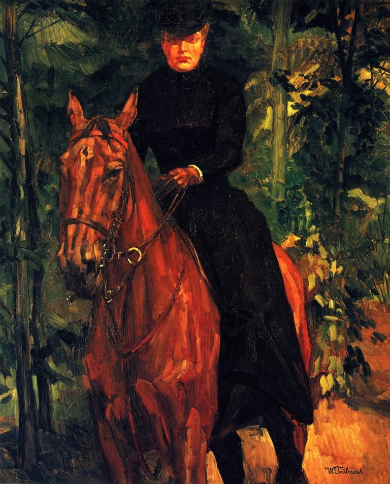 Erna von Holzhausen on Horseback | Wilhelm Trubner | oil painting