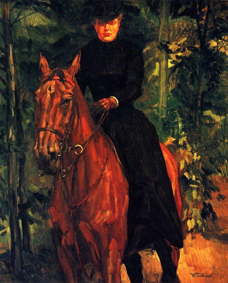 Erna von Holzhausen on Horseback   Wilhelm Trubner   oil painting