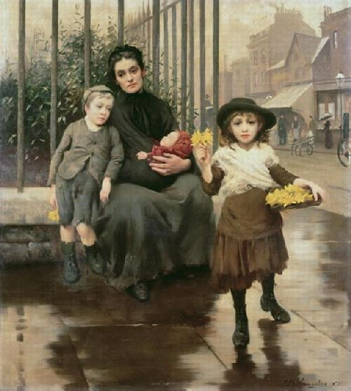 The Pinch of poverty | Thomas Benjamin Kennington | oil painting