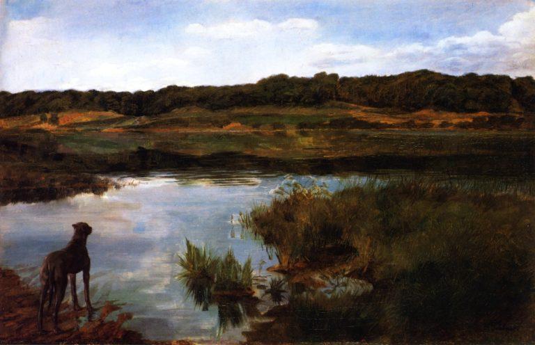Great Dane on Wessling Lake | Wilhelm Trubner | oil painting